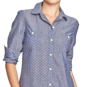 Old Navy Chambray Polka Dot Blouse L Tall